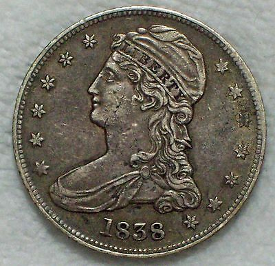 1838 SILVER Half Dollar Reeded HALF DOL Type XF+/AU Detailing RARE Authentic 50C