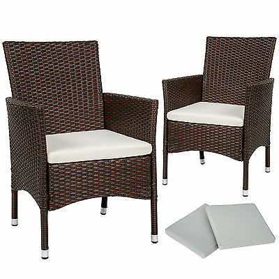 2 x Poly rattan garden chairs wicker outdoor armchair set + cushion pads mixed