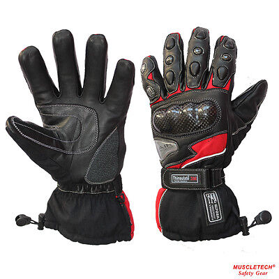 MTECH Motorbike Warm Winter Gloves Leather Gloves Cordura Water Proof Gloves