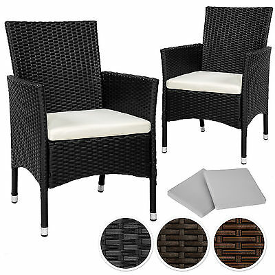 2 x Poly rattan garden chairs wicker outdoor armchair set + cushion pads