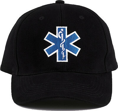 Black Official EMS EMT First Responder Adjustable Cap Paramedic Ambulance Hat