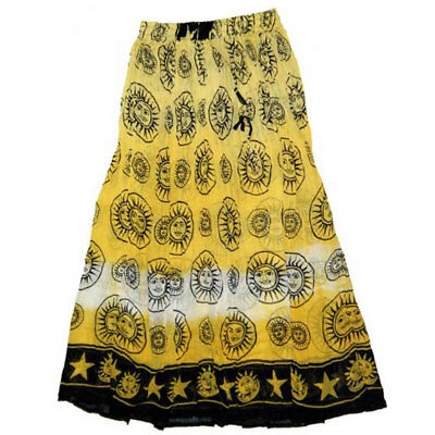 NEW Yellow Celestial Skirt Semi-Sheer Cotton Crinkle Tie-Dye Celtic - One Size