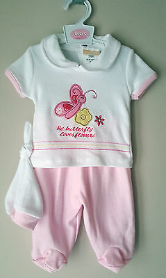 Baby Girls 3 Pc Top, Trousers & Hat Set, Tiny Baby 3-5lbs, 5-8lbs