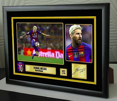 "Lionel Messi 2016 Barcelona Framed Canvas Tribute Signed ""Great Gift"""