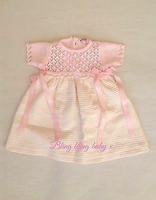 Baby Girls Spanish Knitted Lace Waffle Pink Bow Dress - 6 Months