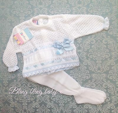 Spanish Baby Boys  Knitted Romany Babygrow Outfit Set 2 Piece - Blue 0-3 Months