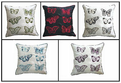 Enchanted Embroidered Butterfly Cushion Covers 18″ x 18″ (Pack of 4)