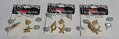 Lot Of 3 New Cousin Designs By Me 7pc Ocean Shell Charms Beads Jewelry Crafts