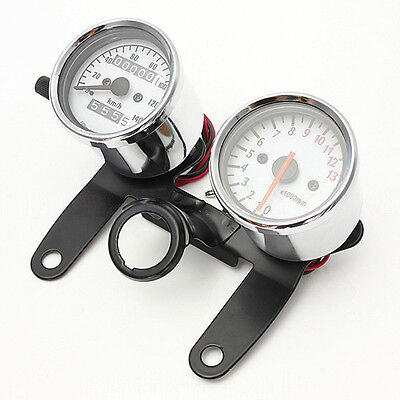 Motorcycle Universal Refitting Odometer Speedometer Tachometer Gauge with holder