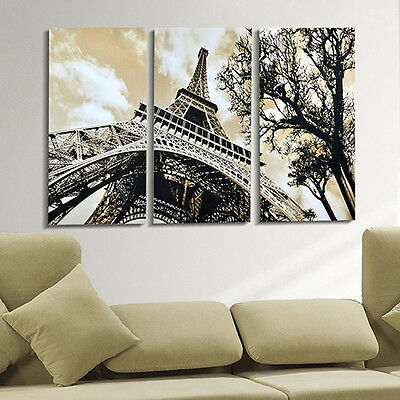 3 Panels Home Decor Modern Canvas Painting Eiffel Tower Wall Pictures Dainty