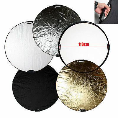 """43"""" /110cm 5 in1 Photography Light Mulit Collapsible Disc Reflector Handle NEW"""