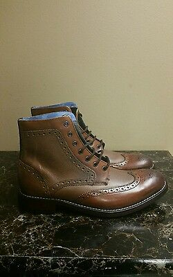 c8855fc7addf5 Ted Baker Sealls Men s US 7 Brown Leather Lace Up Wing Tip Brogue Boot  MSR 280