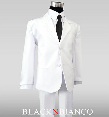 Boy Formal White Suit with Black Satin Tie outfit for weddings and ring bearers