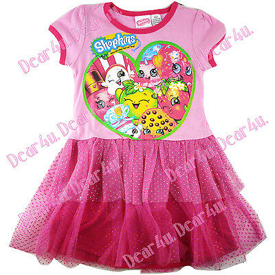 new SHOPKINS onepiece hot pink dress with tutu layers dress size 5-10 xmas gift