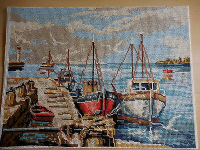 Tapestry Picture Completed Unframed Jeg Le Qual Fishing Boats In Port