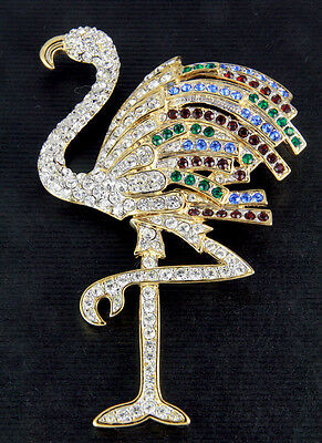 New Large Flamingo W/ Sparkling Multicolor Genuine Crystals Golden Pin Brooch