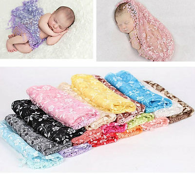 Girl Boy Newborn Lace Flower Wrapped Baby Blanket Photography Props Scarf Wrap
