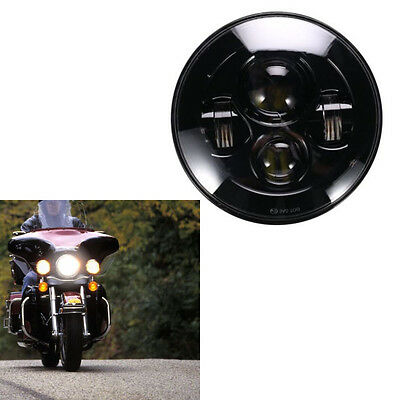 "Black 5.75"" 5-3/4"" Motorcycle Projector LED Headlight Daymaker DRL For Harley"