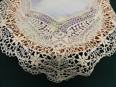 Antique Fine Silk Wedding Hanky or Doily-Maltese Lace-Hand Made