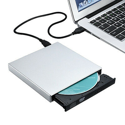 USB External CD-RW Burner DVD/CD Reader Player with Two USB Cables for Laptop PC