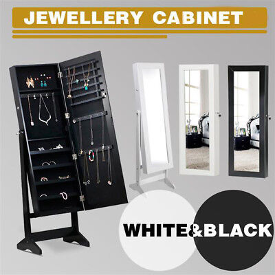 Mirror Jewellery Cabinet Storage Box Organiser 146cm Floor Standing White/Black