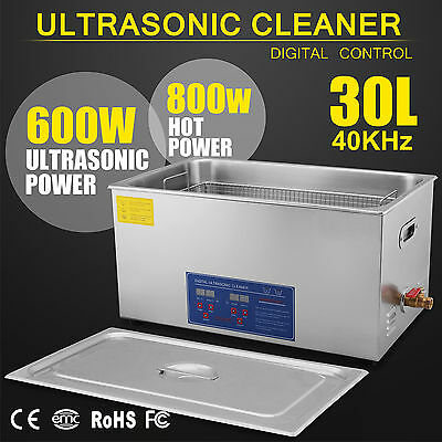 New Stainless Steel 30 L Liter Industry Heated Ultrasonic Cleaner Heater w/Timer