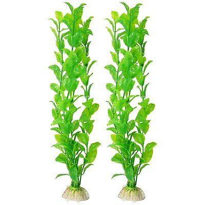 2x Aquarium reservoir de poissons Aquascaping plante verte en plastique WT