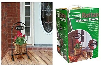 Rattan Basket Welcome Planter Pot Free Standing Swinging Welcome Sign 62 x 28cm