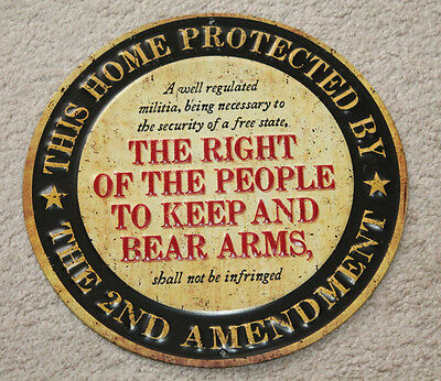 This Home Protected By 2nd Amendment Metal Signs Remington Winchester Colt NRA .