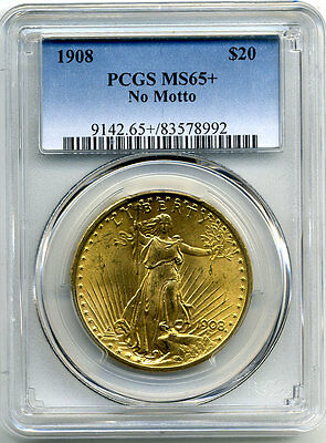 1908 $20 No Motto Pcgs Ms65+