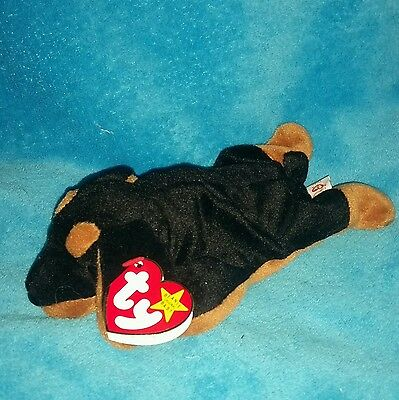 TY Beanie Babies - 4110 - DOBY - Black & Brown Doberman Pinscher Puppy