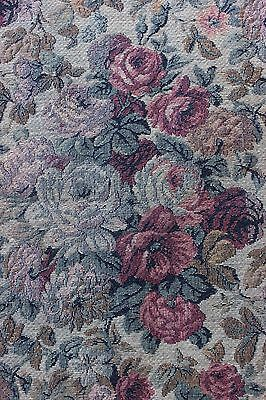 Lovely French Antique c1920-1930 Rose & Floral Jacquard Tapestry Fabric Textile