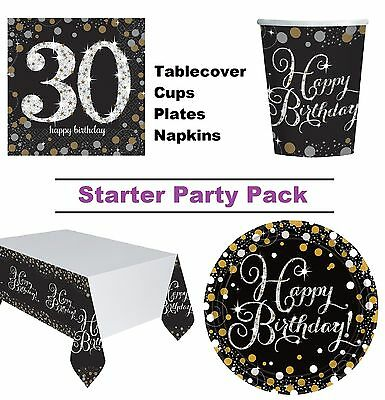 Gold Sparkling 30th Birthday 8-48 Guest Party Pack Cup Plate Napkin Tablecover