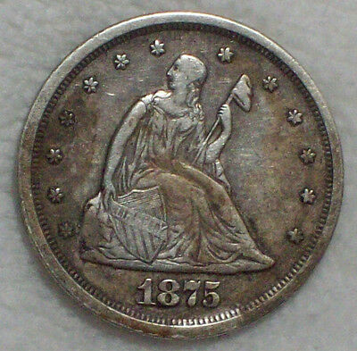 1875 S 20 Twenty Cent Piece SILVER Seated Liberty RARE XF Detailing - Authentic