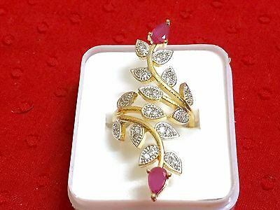 Ethnic Traditional Indian Women Fashion Jewelry CZ Gold Adjustable Finger Ring