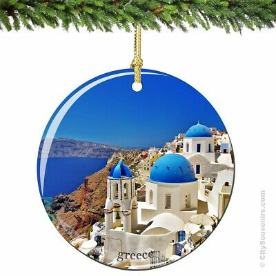 Santorini Greek Island Porcelain Ornament - Greece Christmas Souvenir Gift