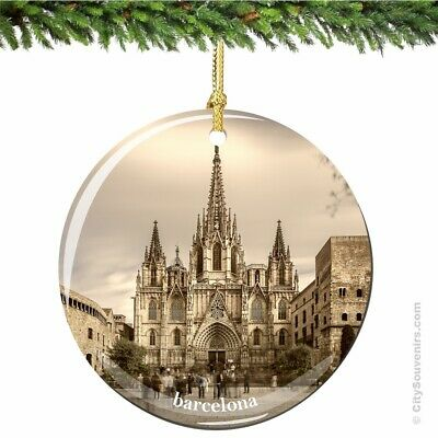 Barcelona Cathedral Porcelain Ornament - Spain Christmas Souvenir Travel Gift