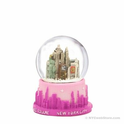 NYC Skyline Pink Snow Globe - New York City Christmas Souvenir Travel Gift
