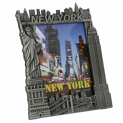 NYC Skyline Pewter Photo Frame - New York City Souvenir Travel Collectible Gift