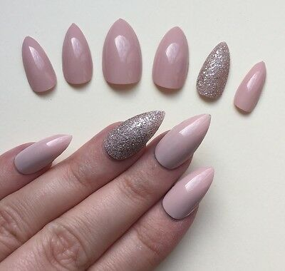 Hand Painted False Nails STILETTO Full Cover. Gel Gloss Pink Nude & Bronze. UK