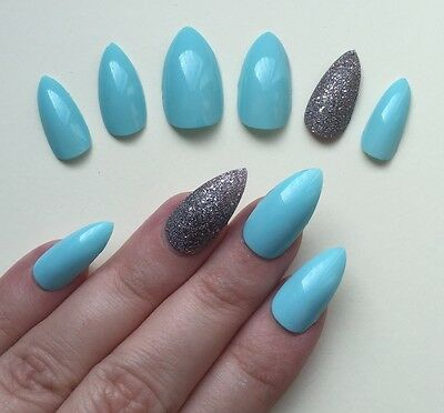 Hand Painted False Nails STILETTO Full Cover. Gel Gloss Blue Green & Silver UK