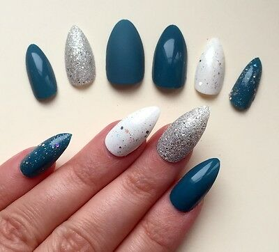 Hand Painted False Nails STILETTO Full Cover. Teal Green Blue Silver NEW COLOUR