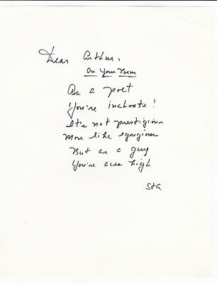 Playful MSS. POEM SIGNED by VICE PRESIDENT SPIRO AGNEW re: Chief of Staff's Poem