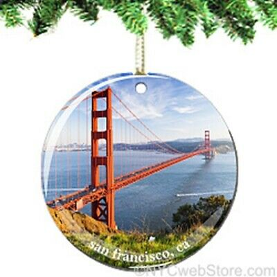 Golden Gate Bridge San Francisco Porcelain Ornament - California Christmas Gift
