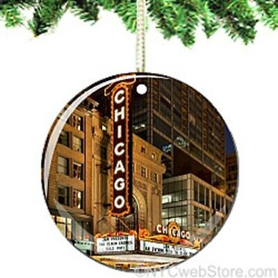 Chicago Theatre Marquee Porcelain Ornament - Illinois Landmark Christmas Gift