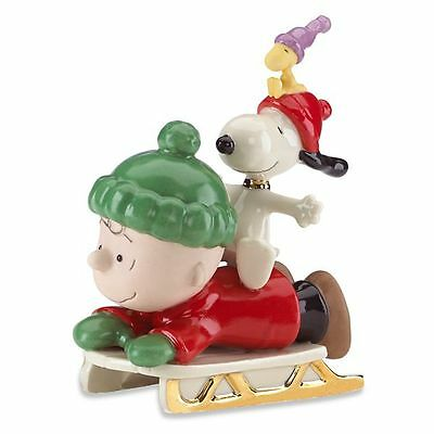 Lenox Peanuts Charlie Brown Snoopy Sledding Adventure Figurine MSRP $80 New COA