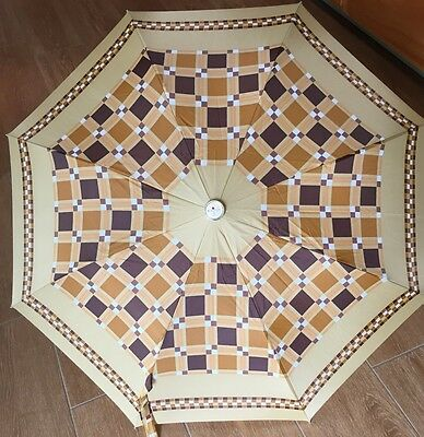 Vintage Knirps Compact Umbrella Geometric Design Tans Browns Gold White w Sleeve