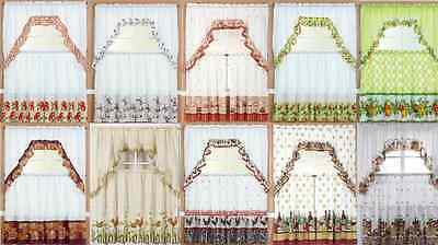"3Pc Kitchen Cottage Window Curtain Treatment Tiers And Ruffled Swag Set 36"" Long"