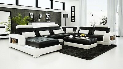 Modern Large LEATHER SOFA Corner Suite NEW RRP £5499 Black