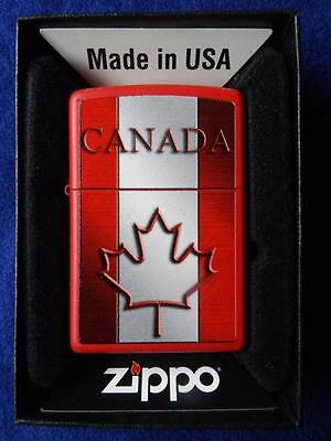 Zippo Lighter Canada Flag Maple Leaf Red White Stripe Canadian Collector Gift Bo